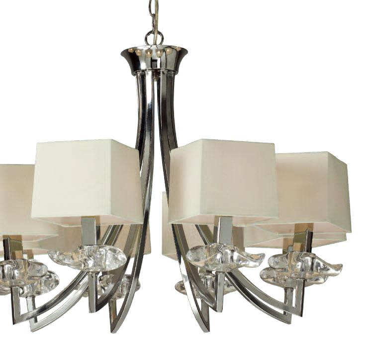 Akira Pendant Lamp Chrome/Cream 8L