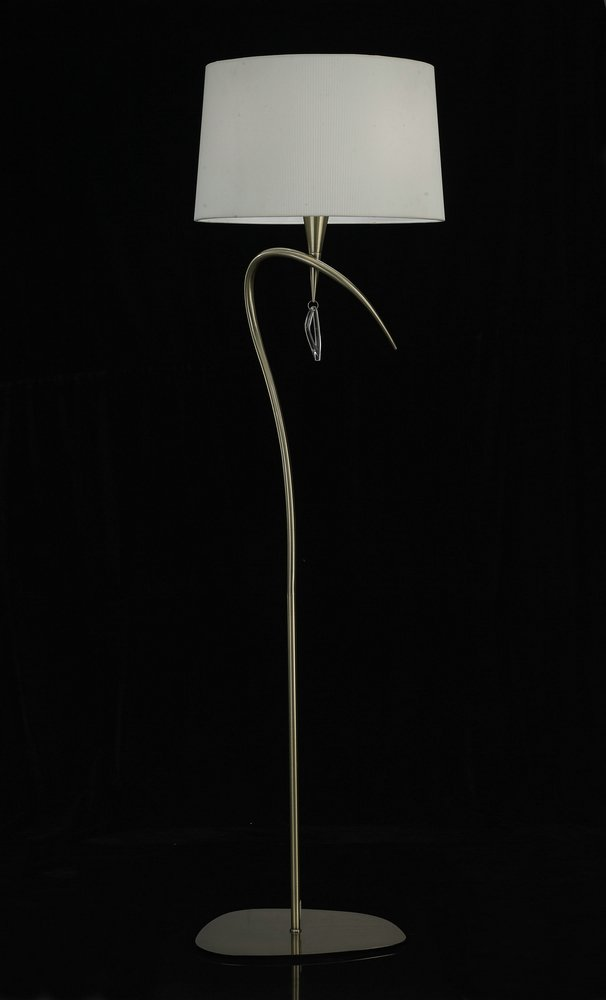 Mara lámpara of Floor Lamp 177,5cm 3xE27 20w leather/white