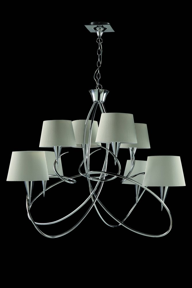 Mara Pendant Lamp 8 lampshades 8xE14 20w Chrome/white