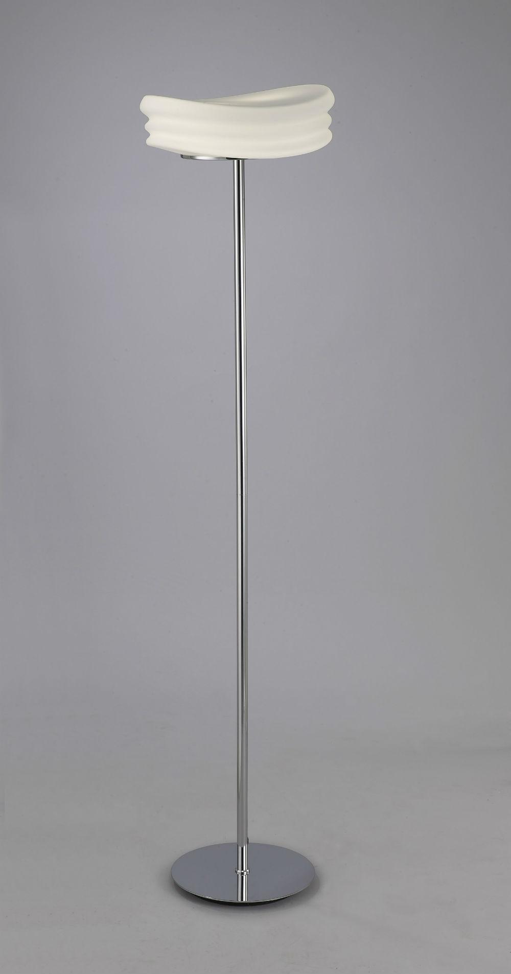 Mediterráneo lámpara de Pie 162cm E27 2x13w Cristal opal Cromo