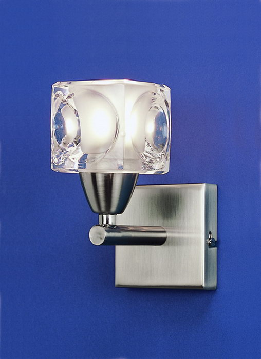 Cuadrax Wall Lamp Nickel Satin/Optico 1L