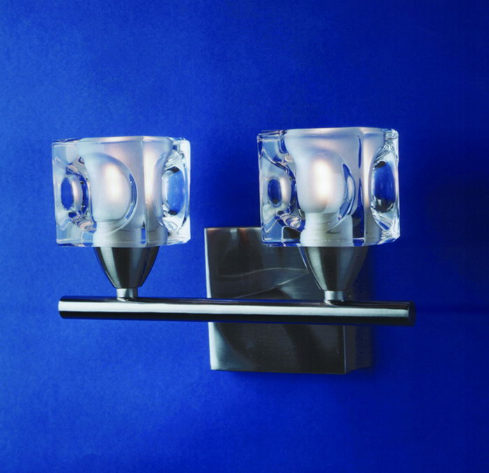 Cuadrax Wall Lamp Nickel Satin/Optico 2L