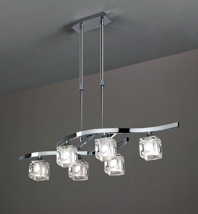 Cuadrax lámpara Pendant Lamp telescópica Chrome 6L