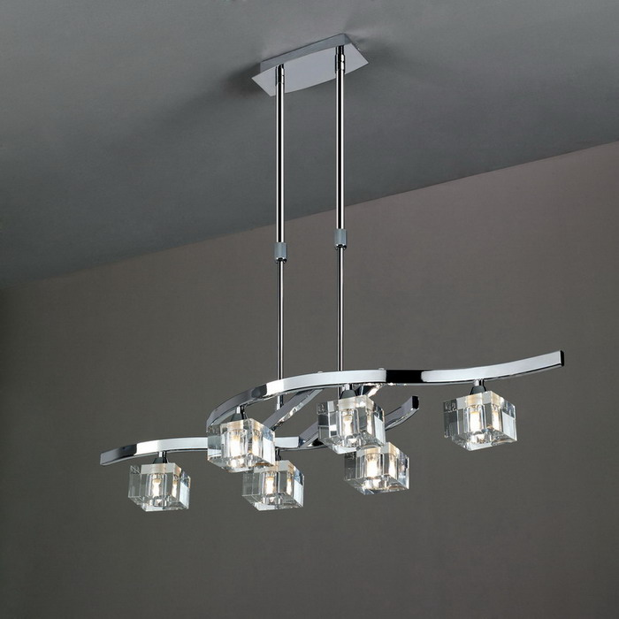 Cuadrax lámpara Pendant Lamp telescópica Chrome/Optico 6L