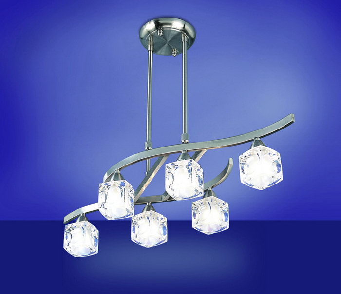 Cuadrax lámpara Pendant Lamp telescópica Nickel Satin/Optico 6L