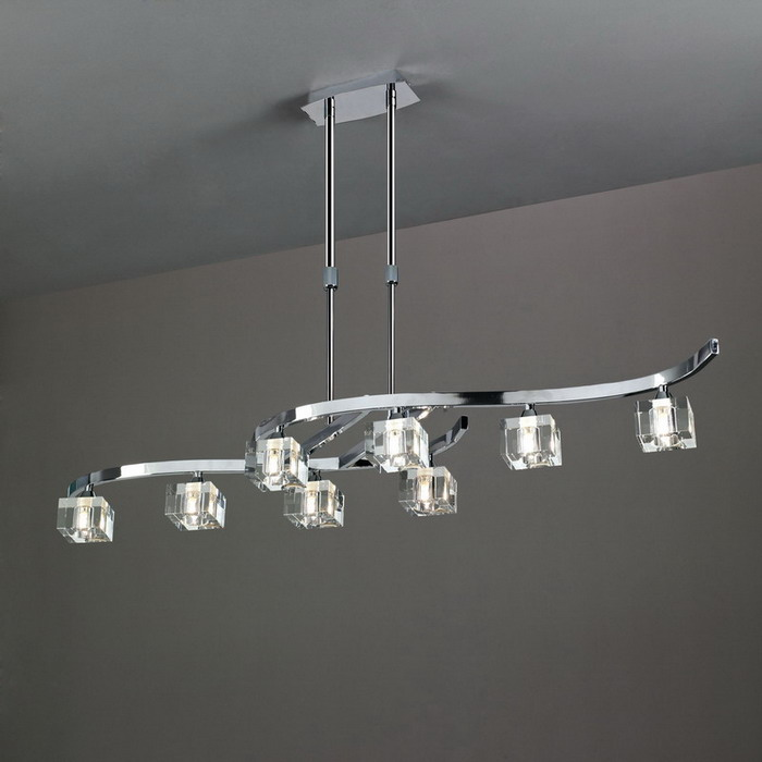 Cuadrax lámpara Pendant Lamp telescópica Chrome/Optico 8L