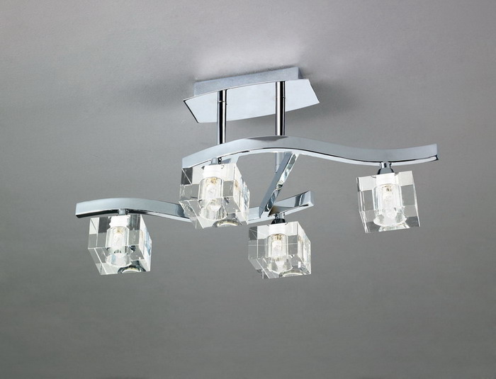 Cuadrax Lamp Semiceiling lamp Nickel Satin/Optico 4L