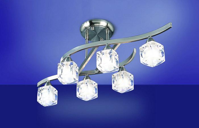Cuadrax Lampe Semiplafonnier Nickel Satin 6L