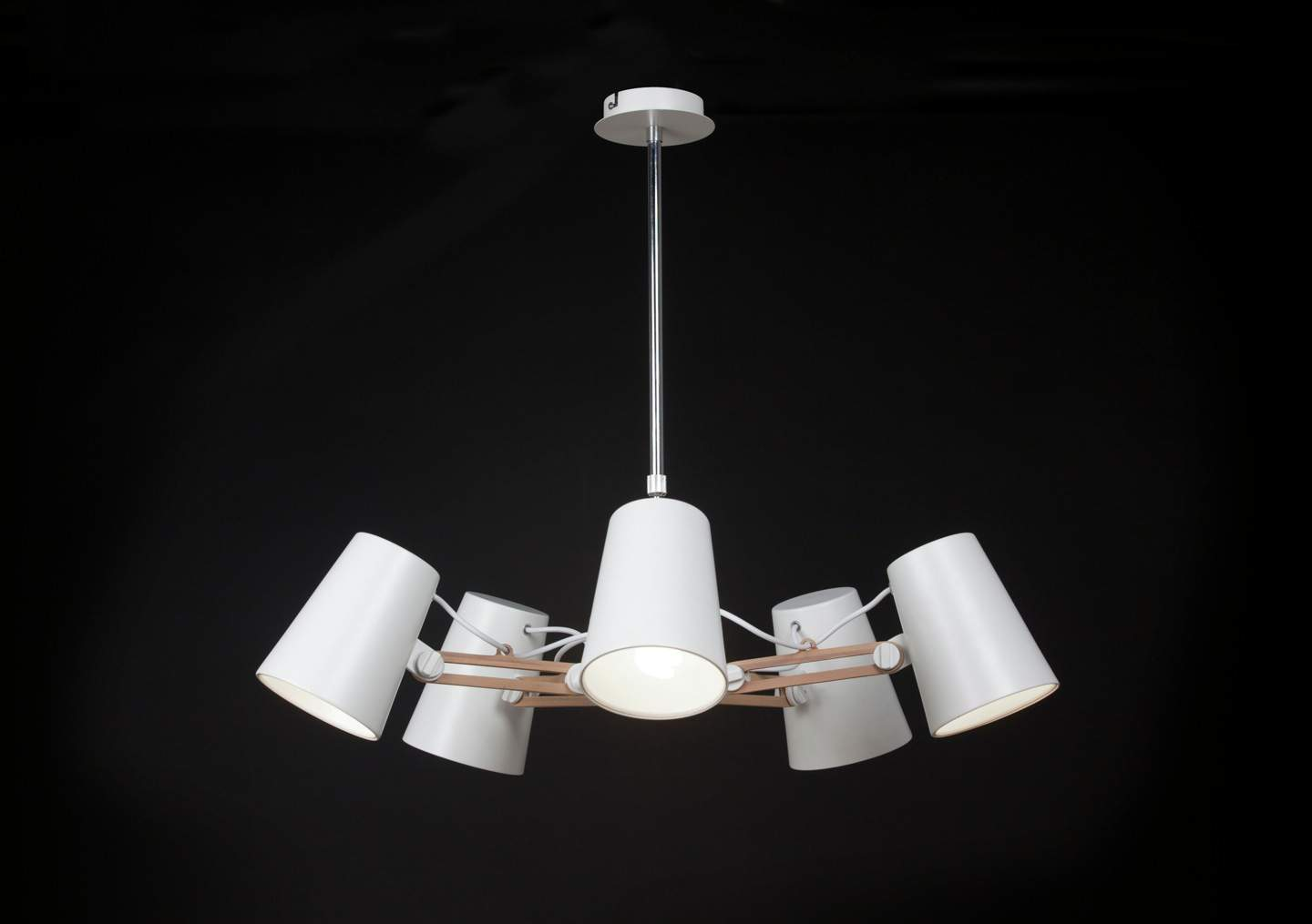 Looker Pendant Lamp 5L 5x15w E27 white/Wood/metal