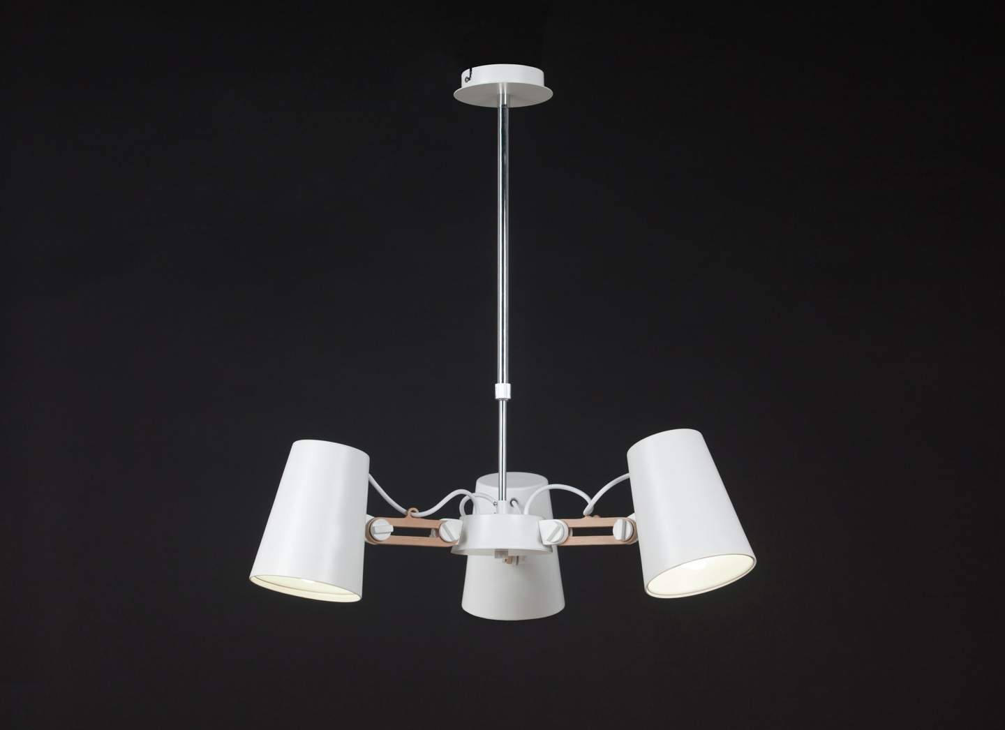 Looker Pendant Lamp 3L 3x15w E27 white/Wood/metal