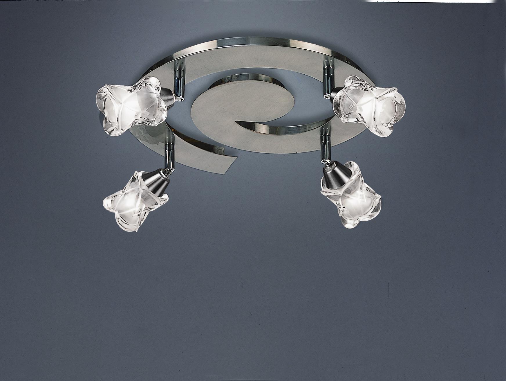 Rosa del Desierto ceiling lamp spiral Nickel Satin 4L