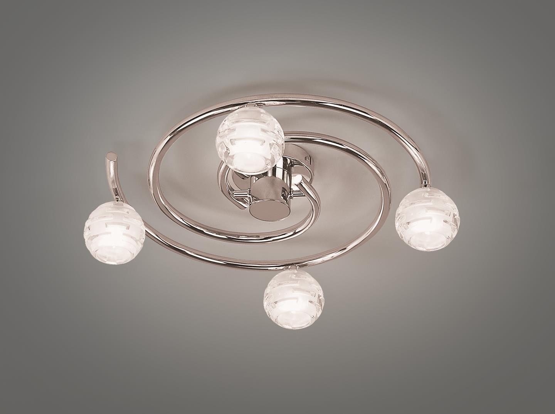 Dali ceiling lamp spiral bright chrome 4L