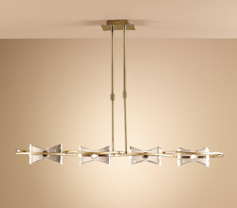 Krom Pendant Lamp linear leather 4L