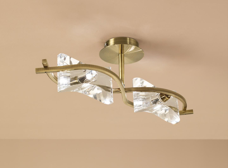 Krom Lamp Semiceiling lamp linear leather 2L
