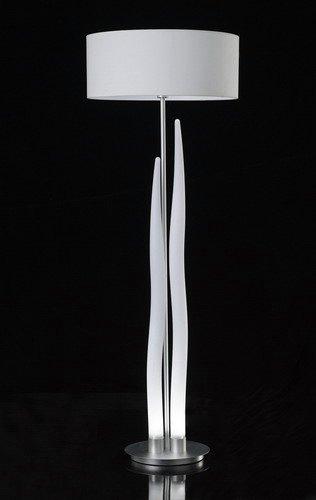 Estalacta lámpara de Pie + pantalla acrilica blanca 2x1w LED + 1xE27 20w (no inc) Aluminio Interior