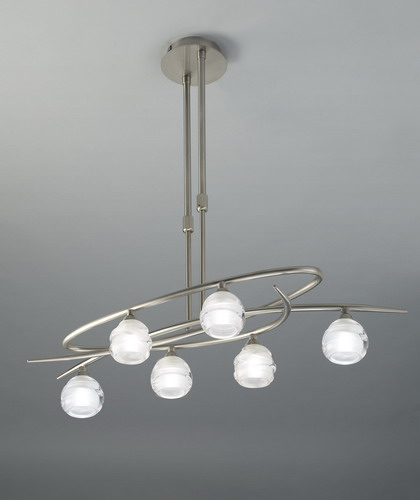 Loop Pendant Lamp 6L 6 x max 33w G9 Eco (OSRAM) Nickel Satin
