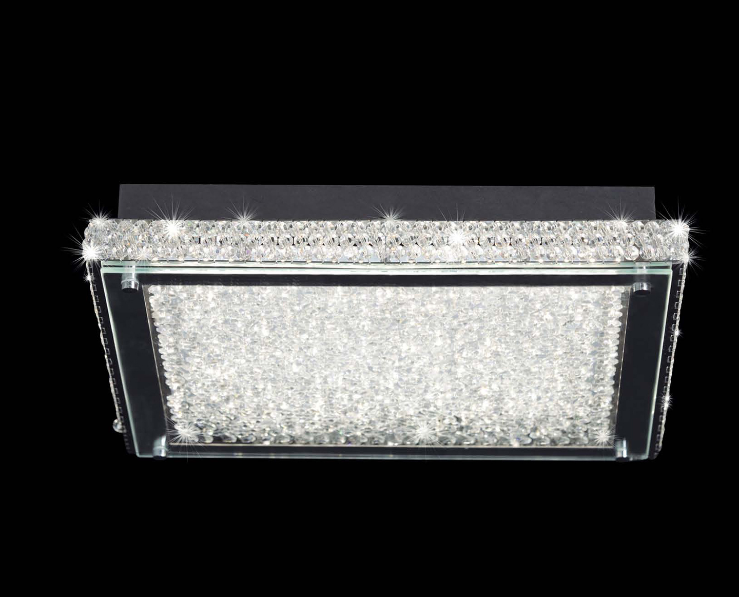 Mantra Verre LED plafonnier Carrée Moyen 40 Cm LED 1x21W Verre/Chrome