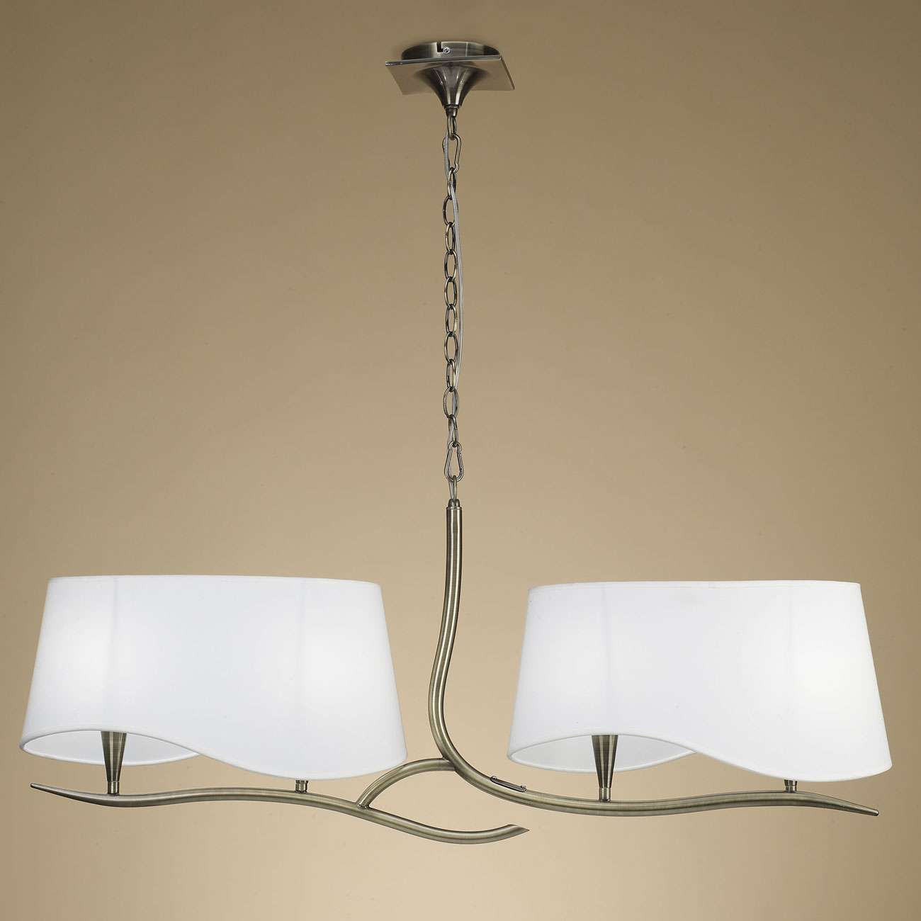 Ninette Lamp linear 4L 4 x 20w E14 leather white lampshade