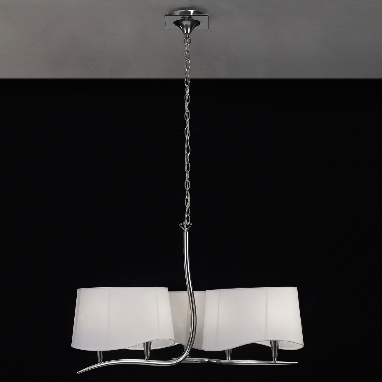 Ninette Lámpara Colgante 6xE14 20w Cromo pantalla blanca