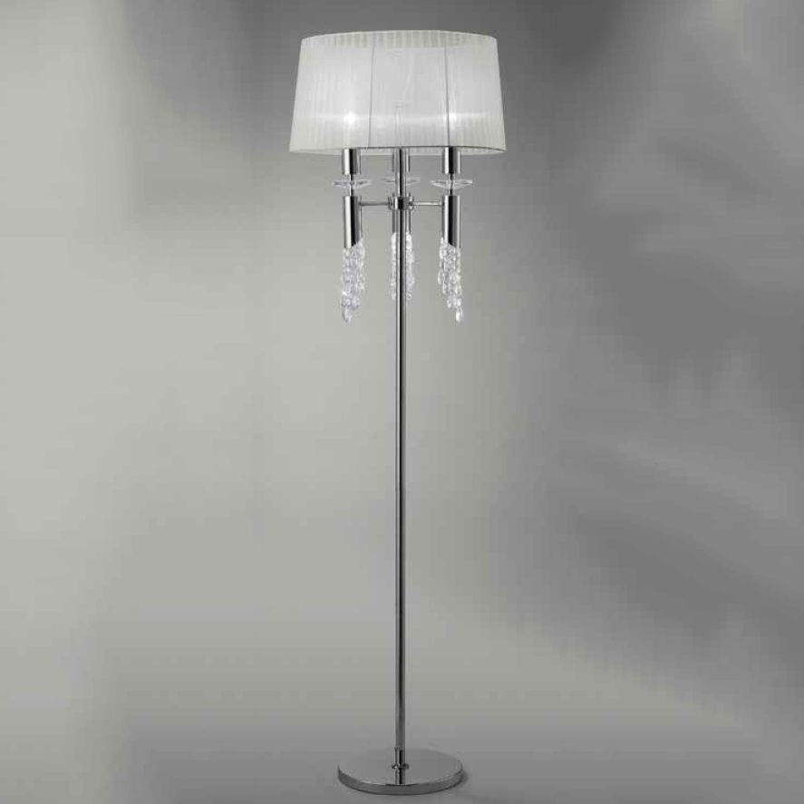 Tiffany Floor Lamp of Salon 3 + 3L 3xE27 23w + 3xG9 33w Chrome