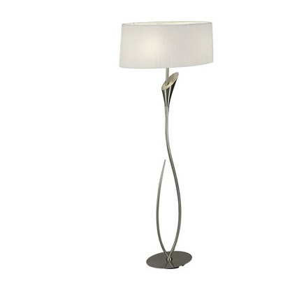 Lua Floor Lamp Salon 2L 2xE27 13w Nickel Satin + Pant white