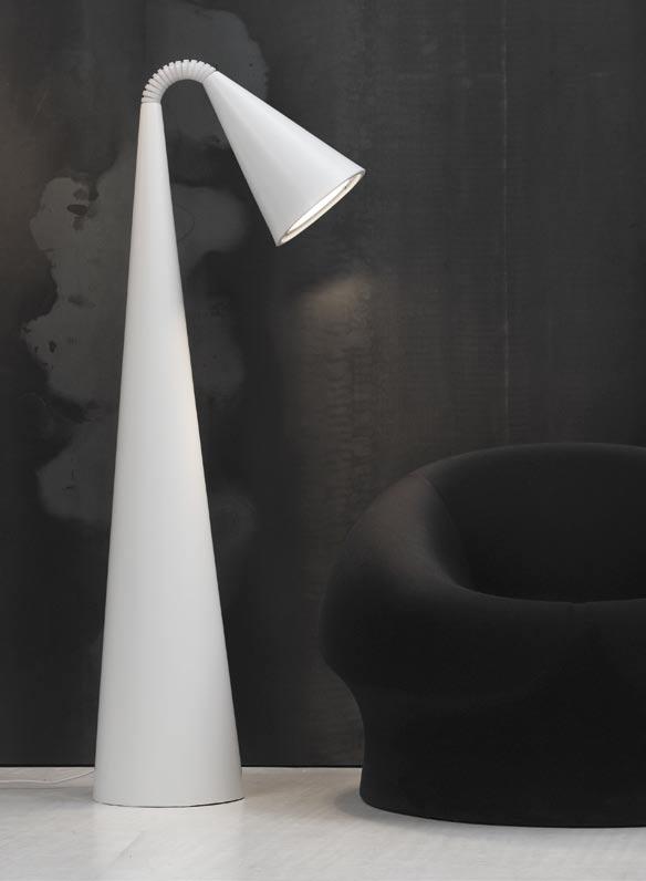 Camp lámpara de Pie blanco