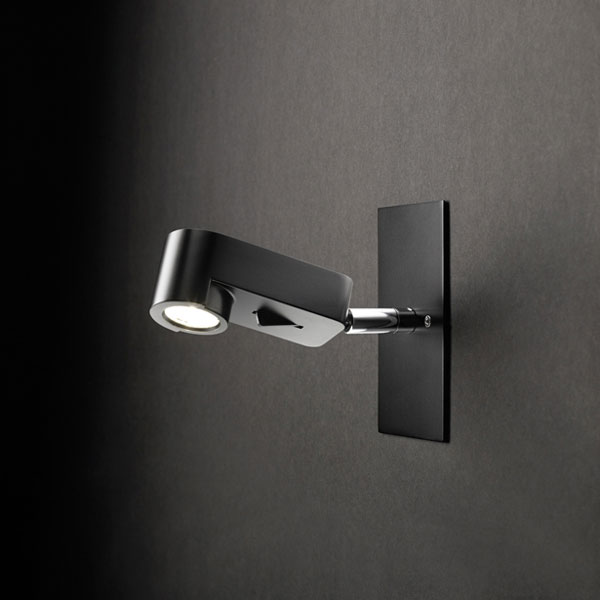 Ledpipe RSCC Wall lamp with wall plate 14cm LED 3w Black