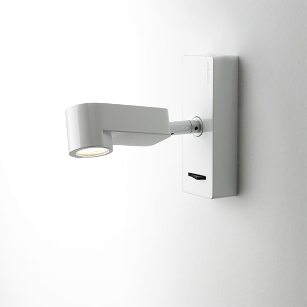 Ledpipe C Applique con base di muro 16,5cm LED 3w bianco