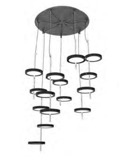 Nenufar Pre Set 7B Lampada Lampada a sospensione LED 135W 24V 2700K 9800lm Nero