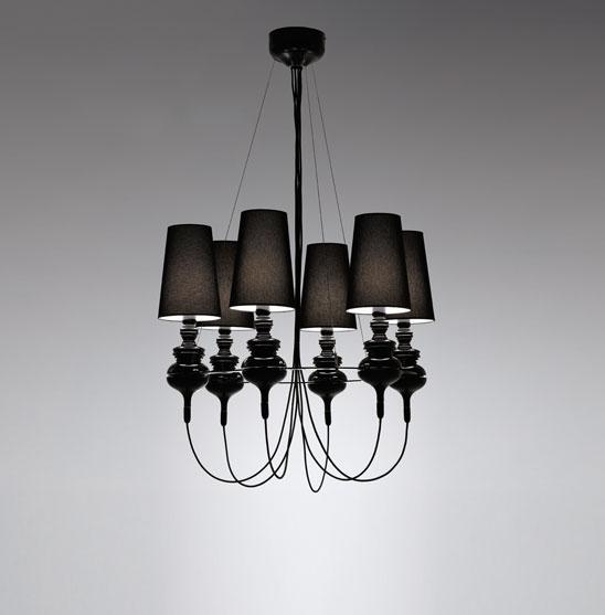 Josephine Queen 6 (Solo Estructura) Lámpara Colgante sin pantalla E27 6x70W Cerámica Negra