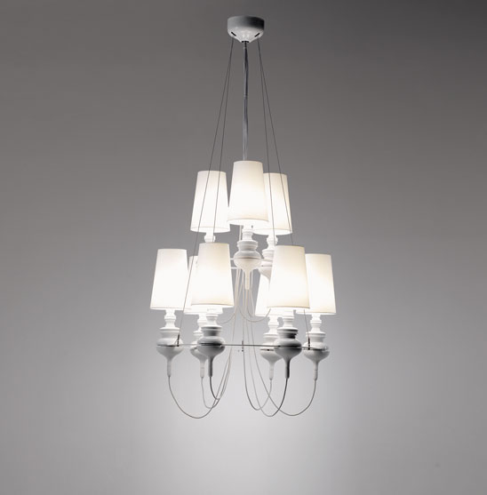 Josephine Queen 6.3 (Solo Estructura) Lámpara Colgante sin pantalla E27 9x70W Cerámica Blanco