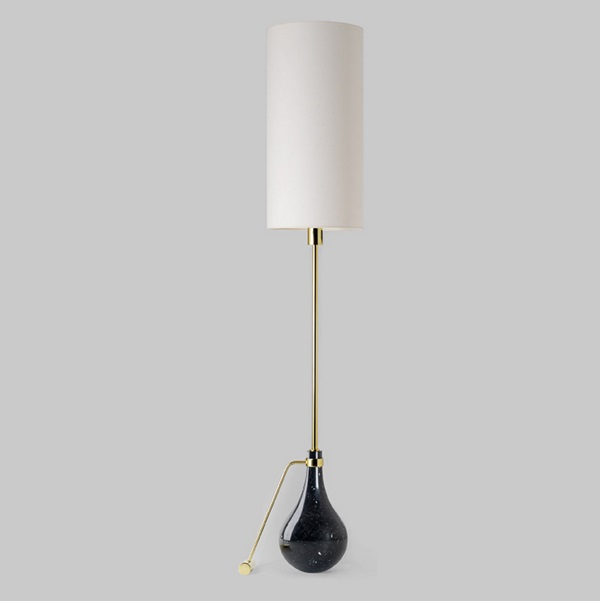 Eva p (Solo Estructura) Lámpara de Pie sin pantalla E27 70W Mármol negro