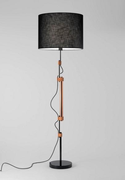 Frank P (Solo Estructura) Lámpara de Pie sin pantalla 170xø26cm E27 70W Negro Brillante