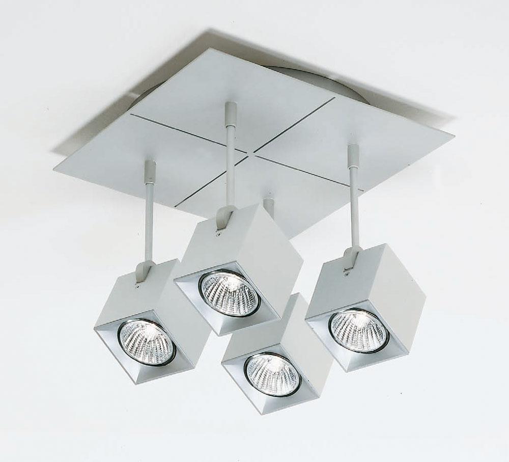 Dau Spot ceiling lamp 4 Spotlights Square GU10 Aluminium Anodized