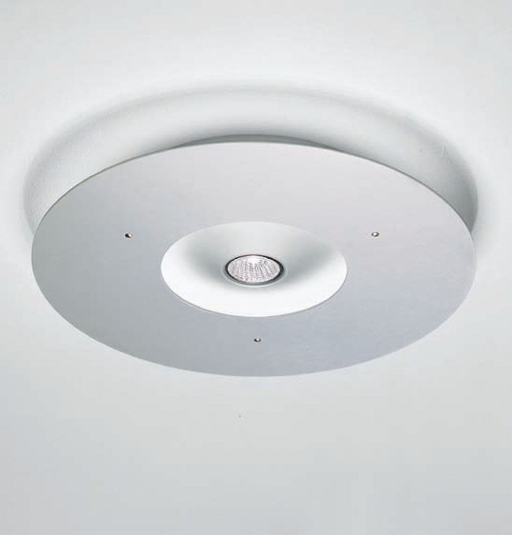 Ixion ceiling lamp Round Fluorescent + halogento Aluminium Anodized