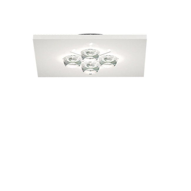 Polifemo ceiling lamp Square 45cm Gu10 4x75w Grey metallized