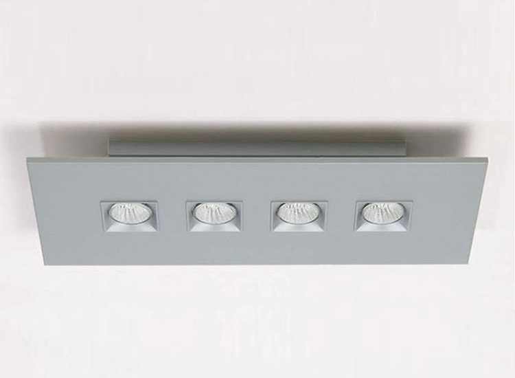 Polifemo ceiling lamp rectangular 63cm Gu10 4x75w Grey metallized