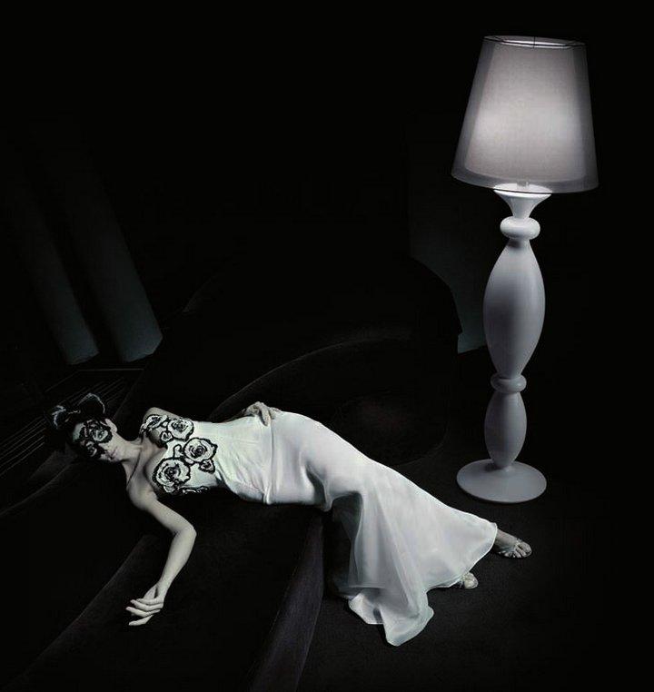 Clasica 60 lámpara de Pie ø60cm Lacado blanco