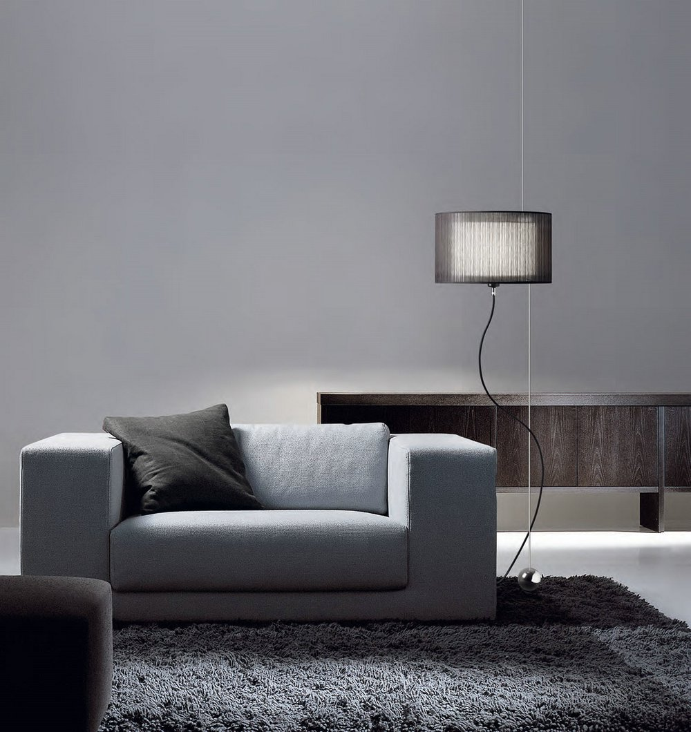 Loe Black lámpara of Floor Lamp /Pendant Lamp bright chrome textile Black