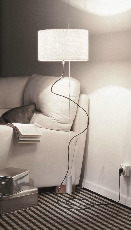 Loe Classic lámpara de Pie /Colgante Aluminio Mate Rafia blanca