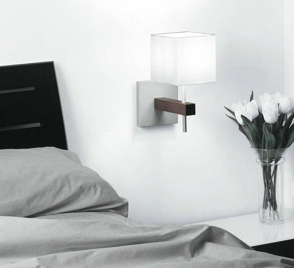 Maria 1 AP12 Aplique Individual Aluminio Mate Lacado blanco 25cm pantalla tela blanco