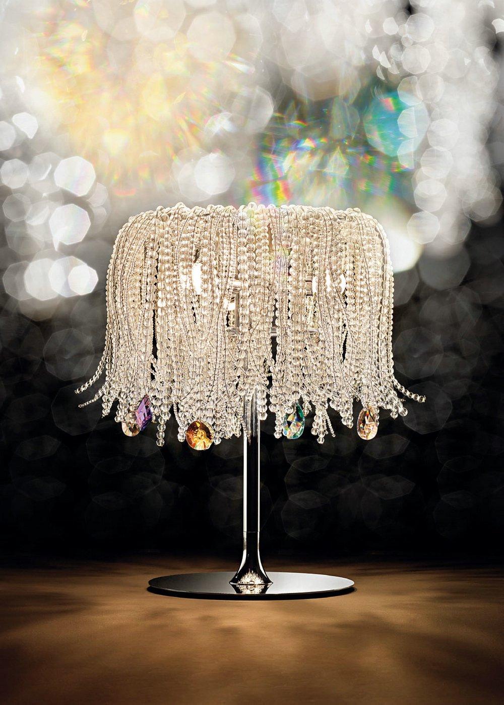 Mossi 30 Table Lamp Chrome Glass of Swarovski