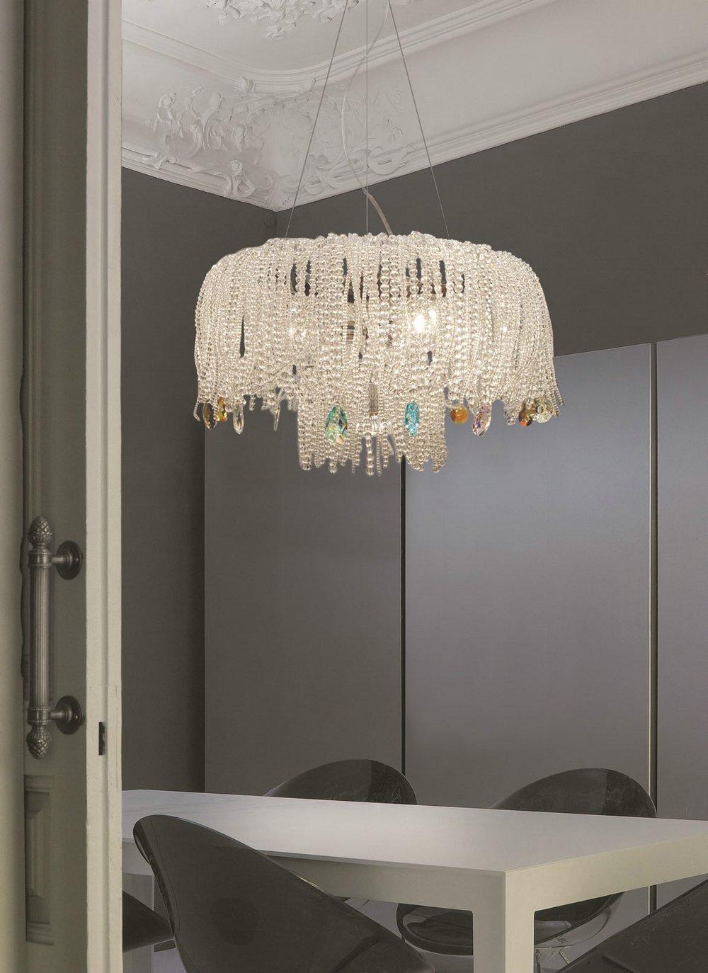 Mossi 1C60 Pendant Lamp Single 60cm Chrome Swarovski Glass