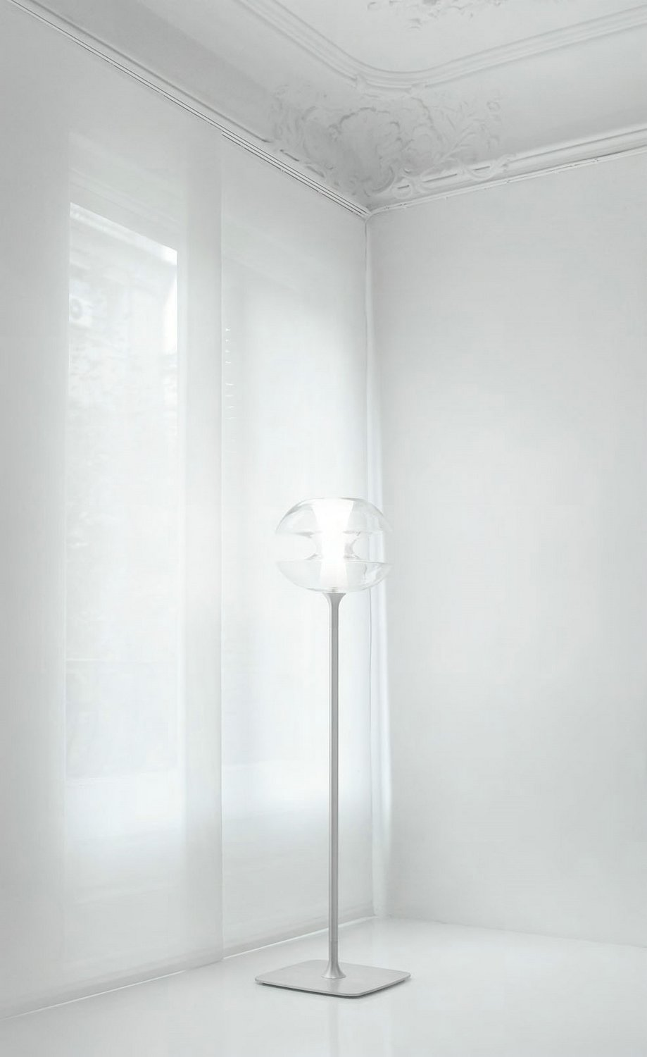 Penelope 50 lámpara of Floor Lamp Aluminium Satin ø38cm Glass soplado