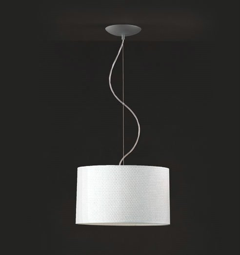 Tao 1C35 Pendant Lamp Single ø35cm Aluminium Matt Rafia white