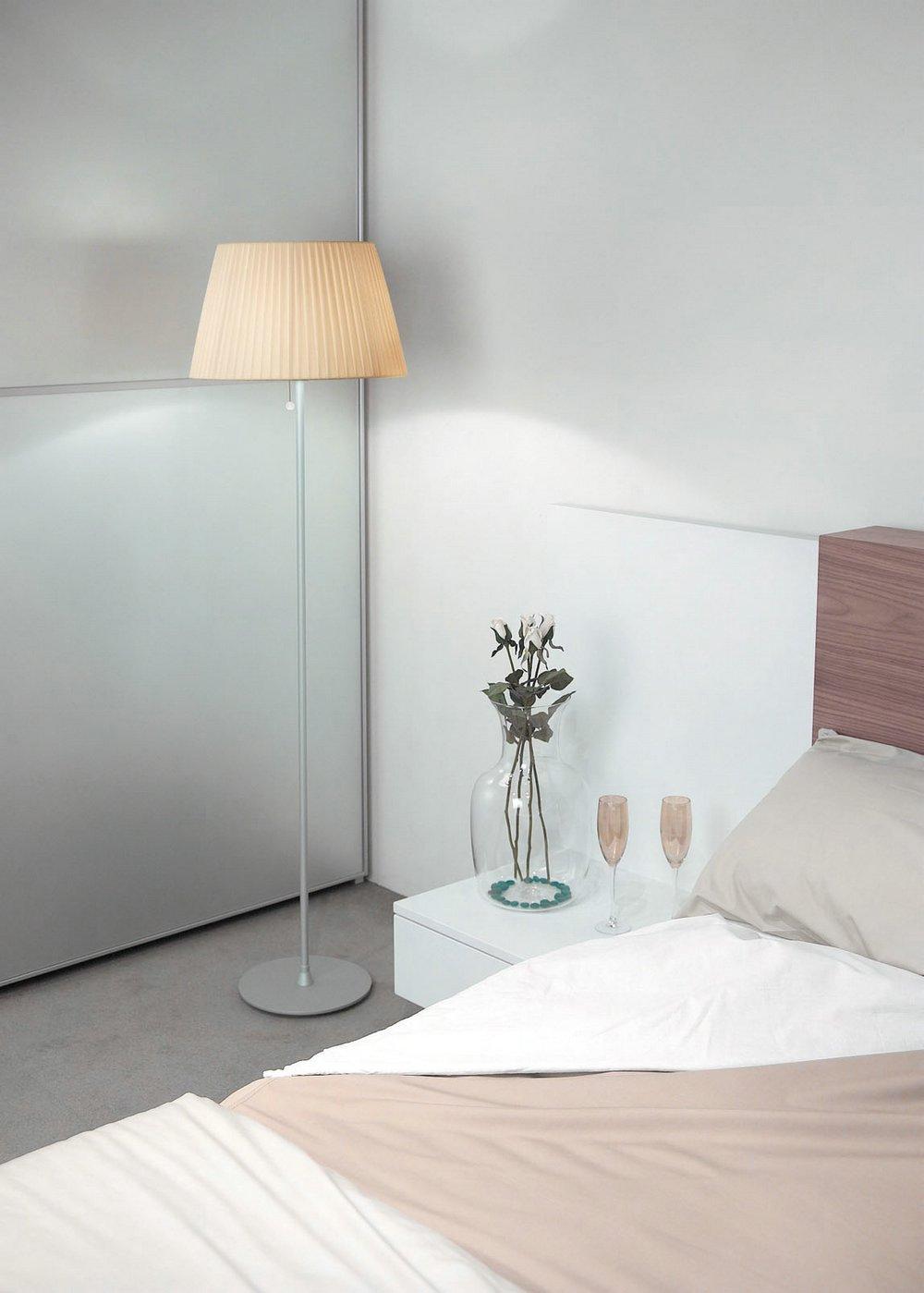 Tusscana 60 lámpara de Pie Aluminio mate/wengue ø45cm Cinta seda beige