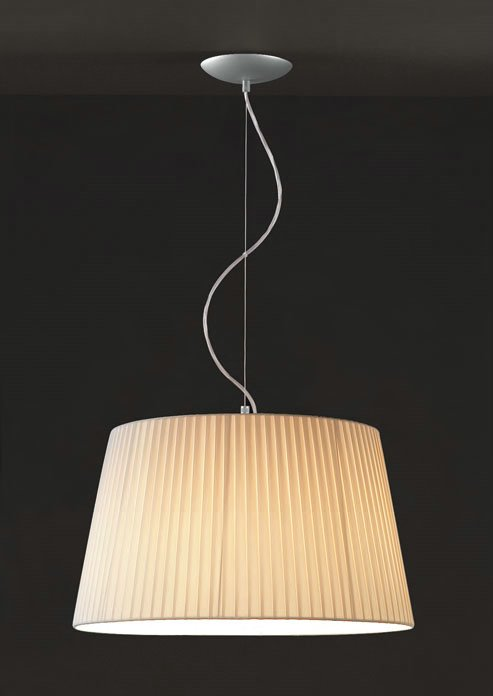 Tusscana 1C45 Lámpara Colgante Individual Aluminio Mate ø45cm Cinta seda beige
