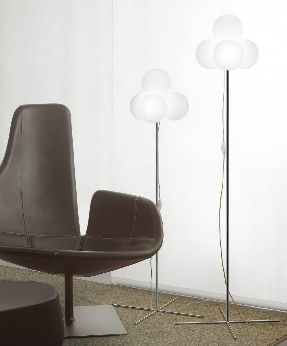 Tybo 50 lámpara of Floor Lamp 124cm Chrome white opal