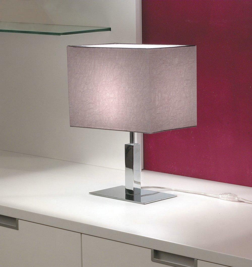 Viena Table Lamp bright chrome fabric Arrugada Grey Oscuro