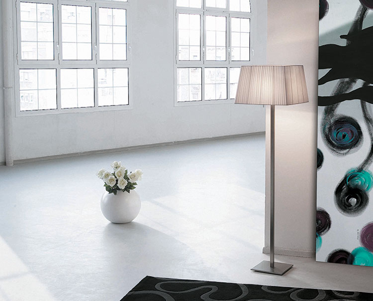 Martina 60 lámpara of Floor Lamp Nickel Satin 155cm lampshade Cinta silk white